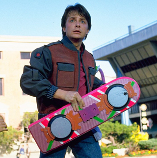 Michael J.Fox with a Hoverboard